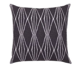 Charcoal Grey Geometric STUFFED Pillow - Grey Diamonds Decorative Pillow - Handcut Shapes Charcoal Pillow - Robert Allen Pillow - Free Ship