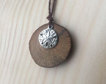 Reclaimed Driftwood Pendant Necklace Sanddollar West Coast Gypsy Boho Spalted wood jewelry Hemp Cord Ready to ship