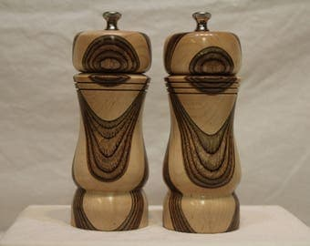 6 Inch HARDWOOD SALT and PEPPERMILL Set Numbers1568   1569