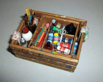 Miniature Artist Paint Crate   1:12 scale