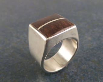 Deep Brown Wood Inlaid Ring, sterling silver, unisex
