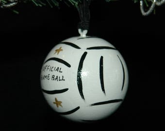 Volleyball - Hand Painted Ornament - Personalized - Solid Wood