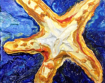 Starfish 4 by 4 Inch Original Impasto Oil Painting by Paris Wyatt Llanso