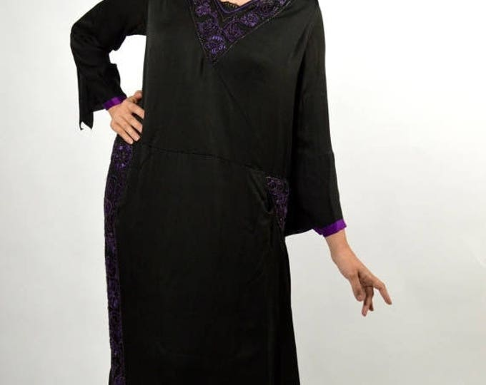 sale Edwardian Dress, 1910 Dress, Black Dress, Silk Dress, Antique Dress, Plus Size Dress, Downton Abbey Dress, Embroidered Dress