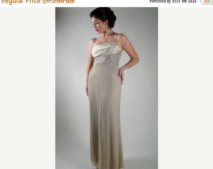 sale Vintage Designer Dress, Badgley Mischka Dress, Prom Dress, Silver Long Dress, Evening Gown, 90s Dress, Antique Lace Dress, Bridesmaid D