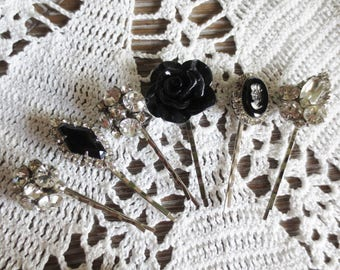 Bobby Pins Silver Black Clear Rhinestone Cameo Crystal Glass Filigree Set Handmade Upcycled Hair Accessories (6)