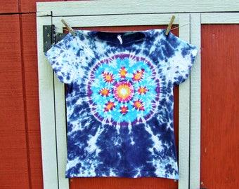 Junior Large Women's Tie Dye T-shirt - Lotus Blossom Mandala - Ready to Ship