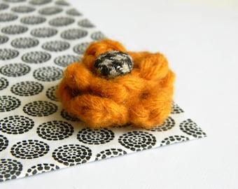 Flower lapel pin. Wool boutonniere. Men accessories. Men buttonhole. Pumpkin orange boutonniere. Flower stick pin.