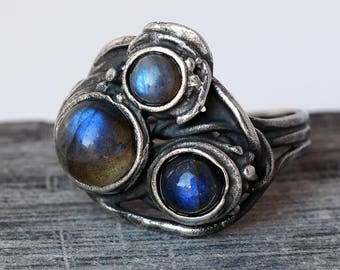 Labradorite Ring - Oxidized Sterling Silver Ring - Blue Ring - Handmade - Ring Size 6 Ring - Labradorite Jewelry - Natural - Gift