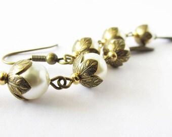 Long Cream Pearl Linear Cascade Beaded Earrings   Woodland Wedding Jewelry   Bridesmaid Earrings   Hippie Wedding   Brass and Pearls