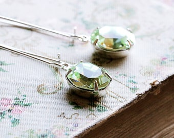 1920s Drop Earrings | August Birthstone Jewelry | Peridot Crystal | Bridesmaid Gift Idea | Downton Abbey | Gatsby Earrings | Swarovski