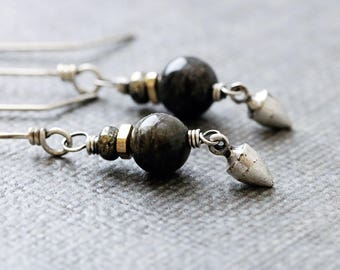 Labradorite Dangle Earrings | Gray Stone | Boho Rustic Earrings | Pyrite | Sterling Silver | Wire Wrapped | Healing Stone | Boho Jewelry