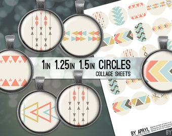 Tribal Geometric Digital Collage Sheets 1 inch 1.25 and 1.5 Circles Printable Download for Pendant Magnet Bottle Cap Necklaces Crafts JPG