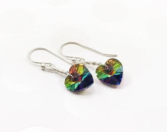 Gay Pride Earrings - LGBTQ Flag Jewelry - Heart Pride Earrings - Coming Out Gift - Lesbian Jewelry - Pride Gift – Sterling Silver Earrings