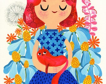 Redhead with Red Cat... - limited edition giclee print of an original watercolor / gouache illustration (8 x 10 in)