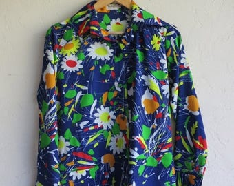 "40% SUMMER SALE Retro Blue Floral ""Jackfin"" Shirt"