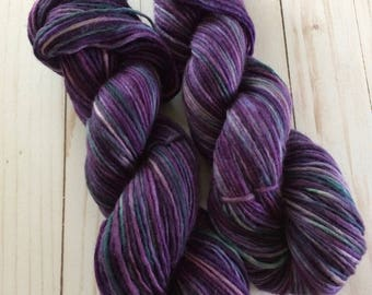 "200 Yards Hand Painted Heavy Worsted/ Aran Weight Singles Yarn, Knitting Yarn, Crochet Yarn, ""Heathered Moors"" Superwash Merino Singles"