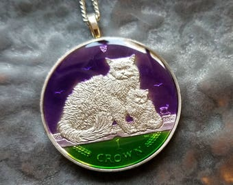 Isle of Man - Selkirk Cat Coin Pendant - Hand Painted