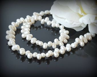 White Pearl Necklace Wedding Beaded Elegant Necklace Pearl Statement Necklace Freshwater Pearl Choker Rice Pearl Top Drilled Zig Zag