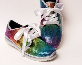 Tiny Sequin - Starlight Rainbow LED Luminous Multi Colored Light Up Athletic Kicks Slip On Tennis Shoes