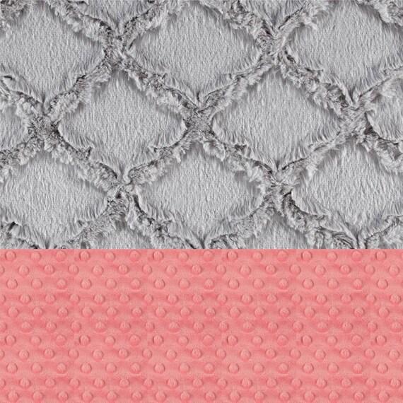 Baby Girl Minky Baby Blanket, Coral Gray Geometric Personalized Baby Blanket, Nursery Decor, Baby Gift Name Baby Blanket Monogrammed Blanket
