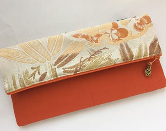 Fold Over Clutch made from vintage Obi - Pine, Bamboo, & Plum Blossom