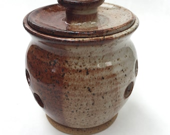 Garlic Keeper - Garlic Pot -Garlic Storage -Honey and Brown   IN STOCK