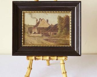 Antique French Landscape Oil Painting on Wood, Barbizon, France