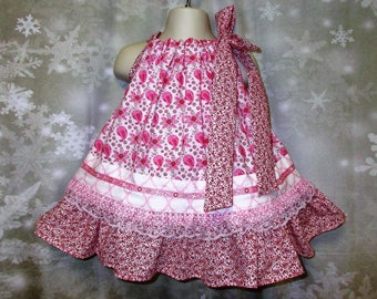 Baby Girl Dress 12M/18M Pink White Red Flower Paisley Pillowcase Dress, Sundress, Pillow Case Dress, Sundress