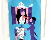 ON SALE 15% OFF Cij2017 Vintage Towel Peynet Lovers Romeo Juliet Balcony Red Hearts Love Wall Hanging Valentine's Day Gift
