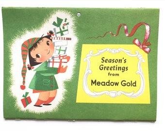 Vintage Calendar 1954 Meadow Gold Advertisement Mary Blair Little Girls Season Greetings