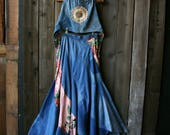 Hand Made Denim Hippie Skirt and Halter Top Boho Bohemian Fashion Made In The 1970s Vintage From Nowvintage on Etsy