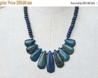 XMAS in JULY SALE Blue Green Azurite Geometric Fan Necklace, Lapis Arrowhead Beads