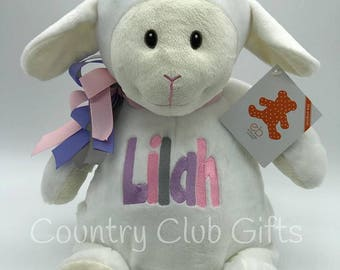 personalized baby gift, Lamb,stuffed animal, keepsake, Embroider Buddy, First Communion, Baptism, best baby gift EVER!