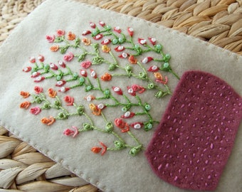Hand Embroidered Coffee Colour Felt Glasses Case