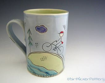 Pottery Mug with Cyclist in the Mountains - Coffee Mug - Bicycle Mug - Outside Inscribed - by DirtKicker Pottery