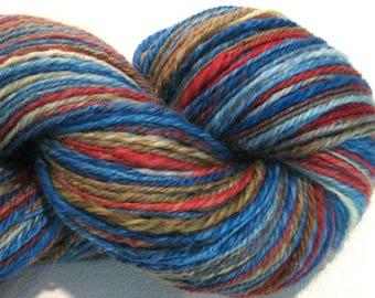 Handspun yarn, Going West, DK light worsted weight, 3 ply, self striping 312 yards red blue BFL knitting supplies, crochet supplies, weaving