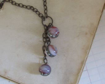 Vintage Glass Marble Pendant Long Drop Necklace