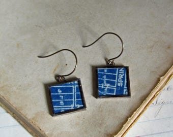 Blueprint Repurposed Earrings One of a Kind Jewelry