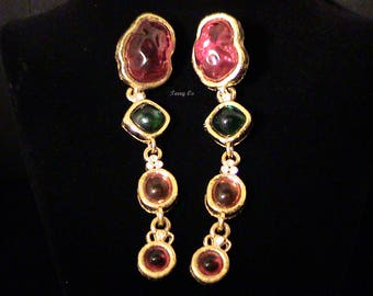 Vintage GIVENCHY Couture Gripoix Style Cabochon Duster Earrings