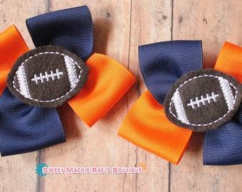 Girls Hair Bows--Orange and Navy Football Bows