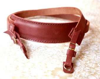 Custom Brown Leather Camera Strap Personalize Leather Camera Strap Artisan Leather camera Strap