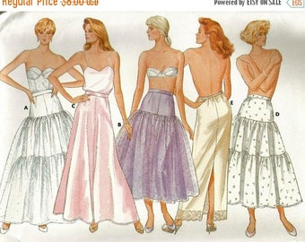 ChristmasinJuly Vintage 80s Butterick 4407 UNCUT Misses Tiered Petticoat and Half Slip Sewing Pattern Sizes 8-12 Waist 24-26.5