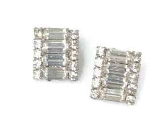 Rhinestone Earrings Baguettes Chatons  Clip On Wedding Special Occasion Vintage