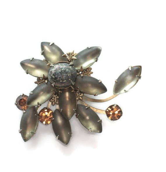 Frosted Gray Marquise Brooch Molded Glass Orange Rhinestones Swirled Design 1950s Vintage