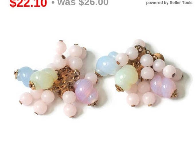 Pastel Art Glass Cluster Dangle Earrings Designer Reinad Vintage