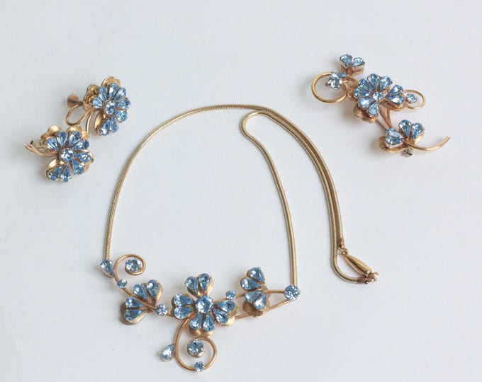 Krementz Necklace Earrings Brooch Blue Stones Original Box Vintage
