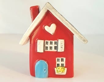 Little Clay House | Red House | Ceramic House | Miniature House | Whimsical house | Fairy House | Red Clay Cottage