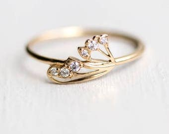 Flutter By Ring in 14k Gold // Single Butterfly Wing with White Diamonds Ring // Butterfly Diamond Stack Ring by Melanie Casey