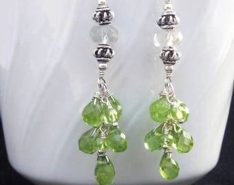 Peridot Cluster Earrings with Green Amethyst in Silver